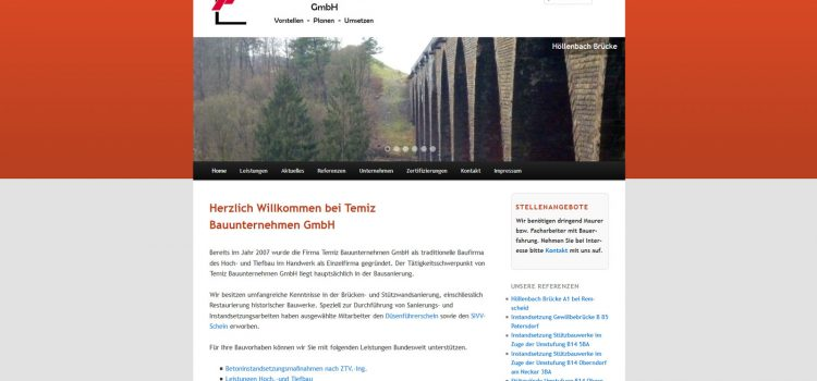 Neue Webseite von Temiz Bau GmbH aus Reupelsdorf erblickt das Licht des World Wide Web
