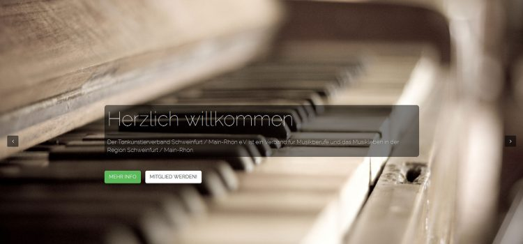 Single-Page Webdesign: Tonkünstlerverband Schweinfurt / Main-Rhön e.V.