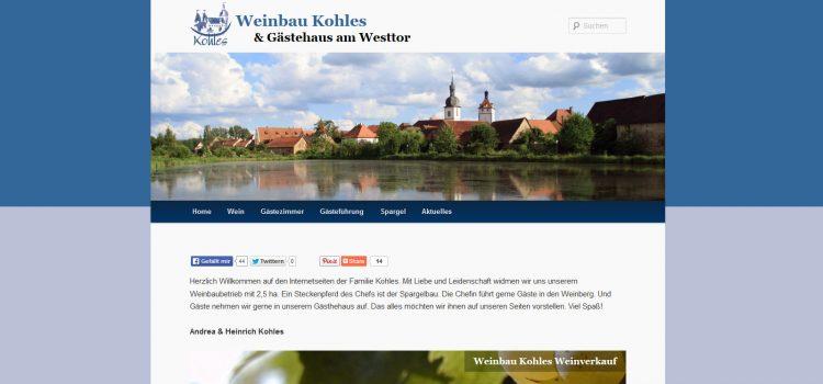 Neues Design der Webseite Weinbau Kohles Prichsenstadt