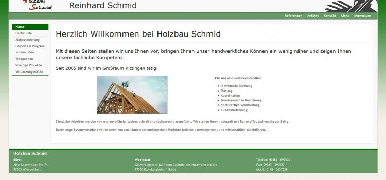 Internetauftritt der Zimmerei Holzbau Schmid Wiesentheid